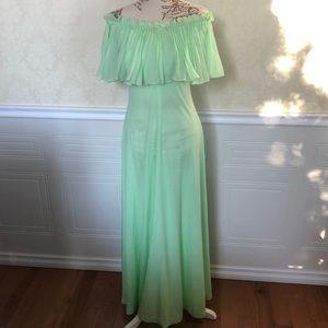 Vintage Nu-Mode Pistachio Off Shoulder Maxi Dress